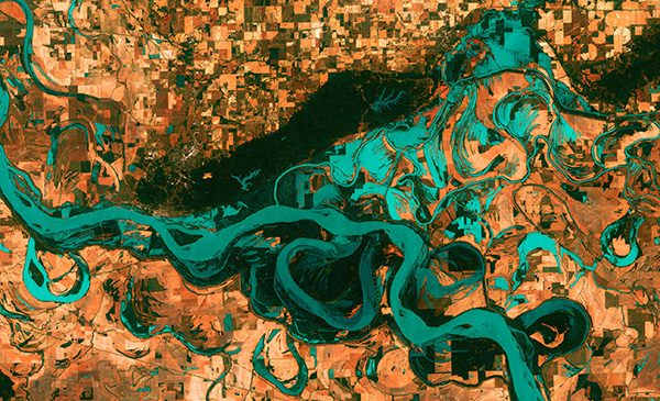 stylized aerial map of the Mississippi Rive
