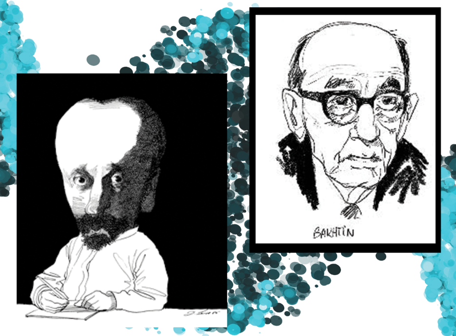 two cartoon portraits of Mikhail Bakhtin on a white and teal background