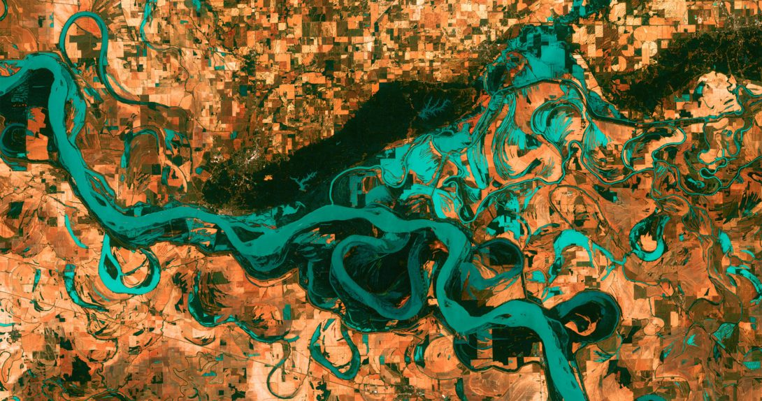 stylized aerial image of the Mississippi River